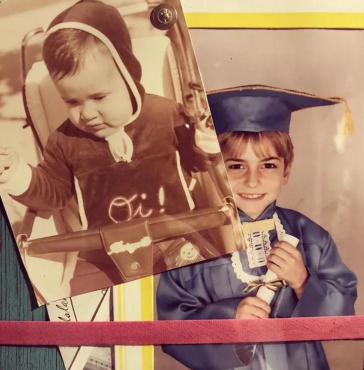 Foto de Paulo Gustavo ainda bebê e quando criança em formatura escolar publicada no Instagram pelo próprio humorista.