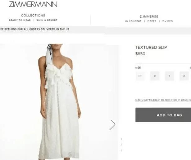 Vestido de Sasha Meneghel em site estrangeiro | Imagem: Reprodução