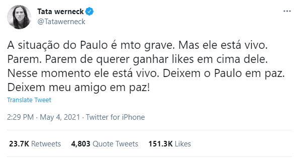 Tatá Werneck afirma que Paulo Gustavo está vivo