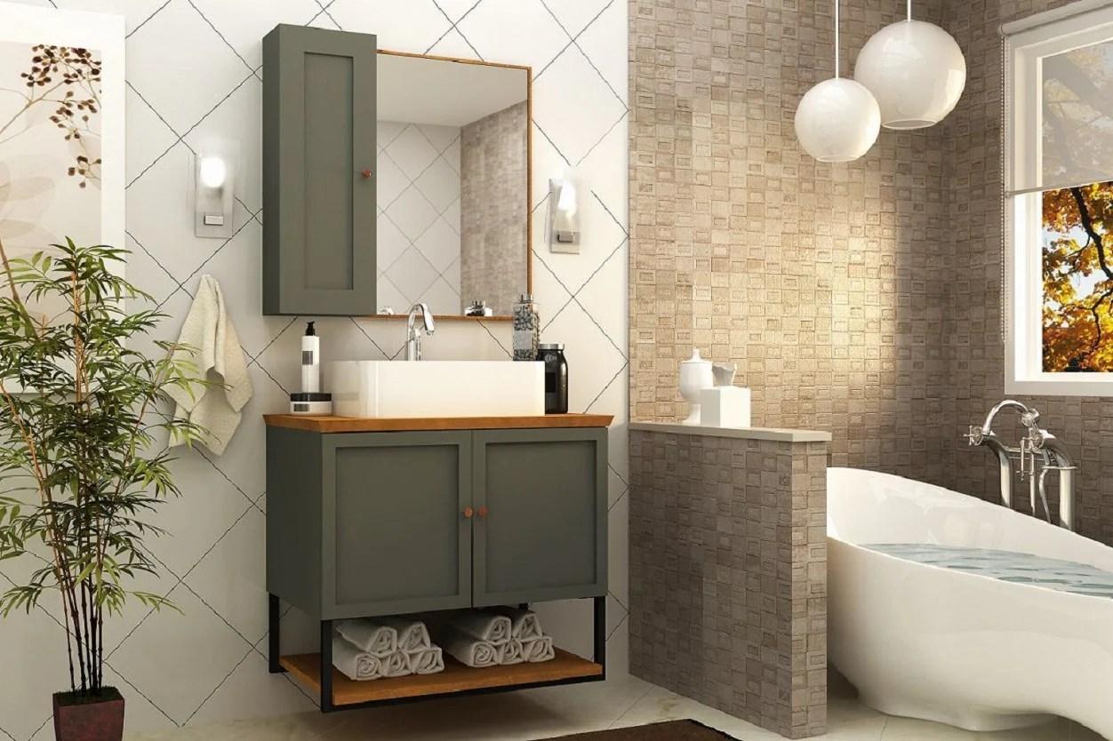 Armário para banheiro cinza.