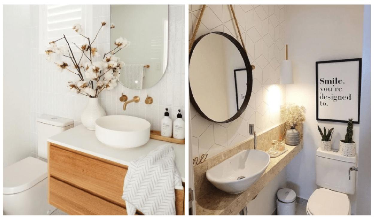 Dois banheiros simples.