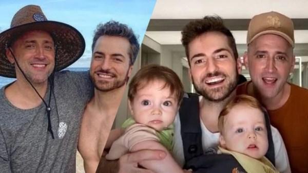 Paulo Gustavo e o marido, Tales com os filhos gêmeos, Romeo e Gael (montagem: Fashion Bubbles)