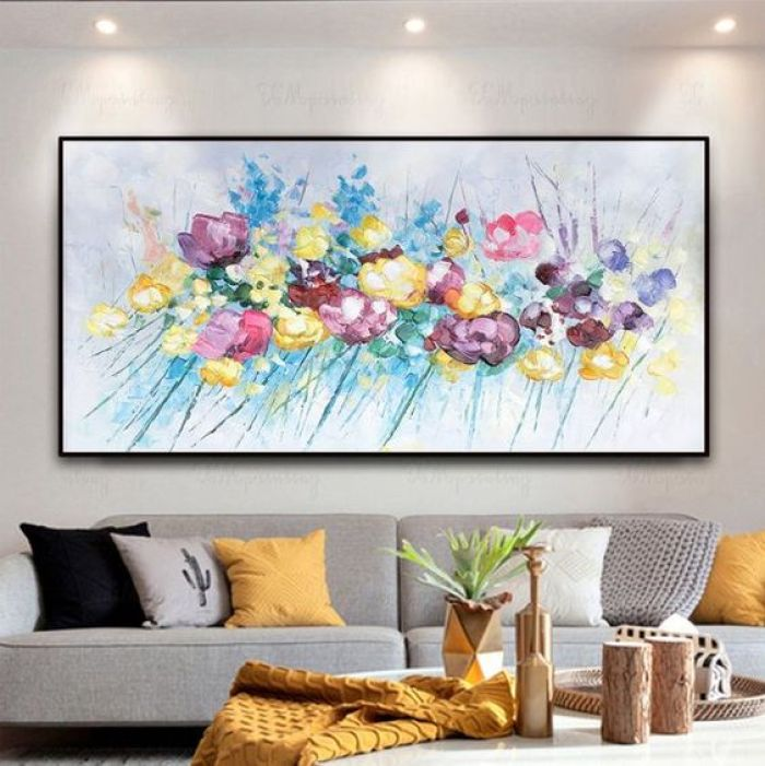 Quadro colorido com flores.