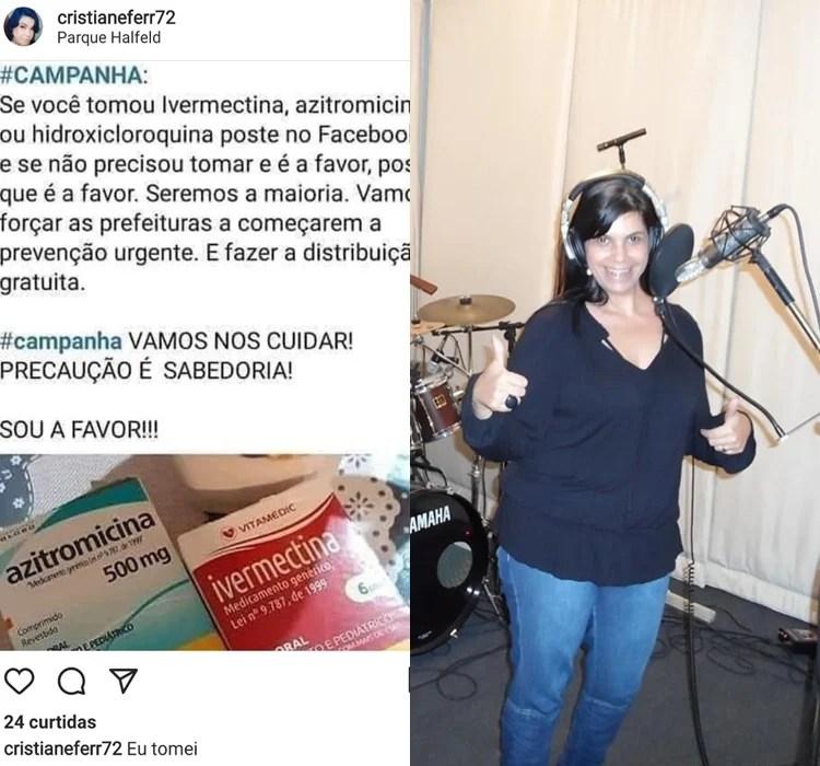 Artista postava campanha em apoio ao uso do chamado 'kit covid' e 'tratamento precoce'.