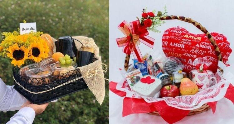 cesta para o Dia dos Namorados de café da manhã