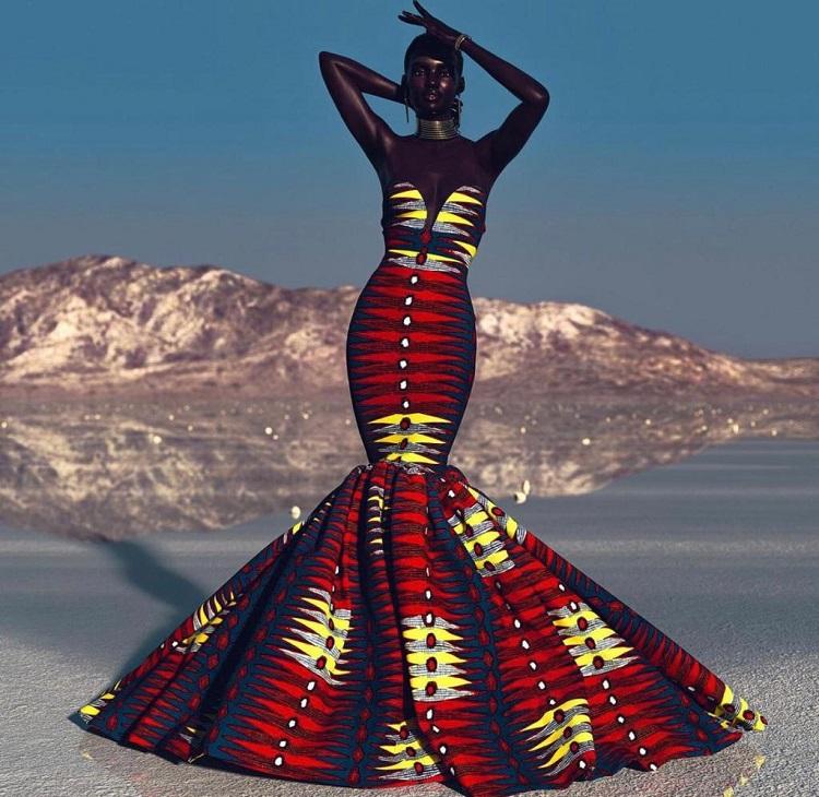 Vestido digital vermelho