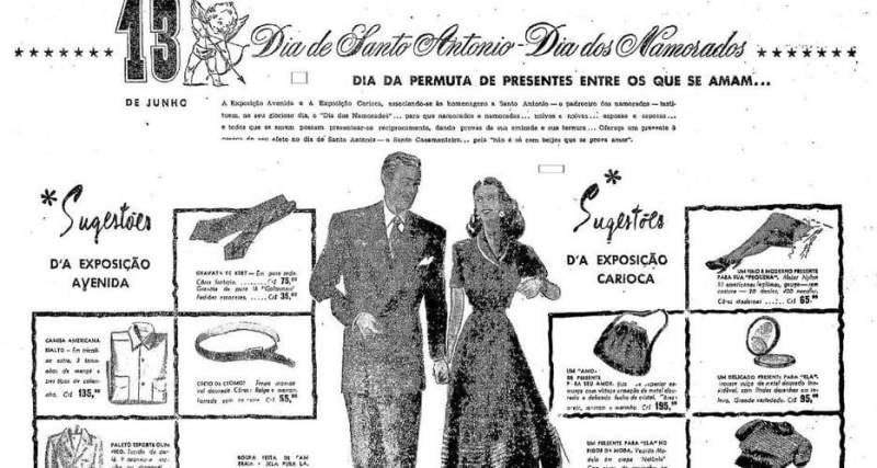 Publicidade antiga do Dia dos Namorados.