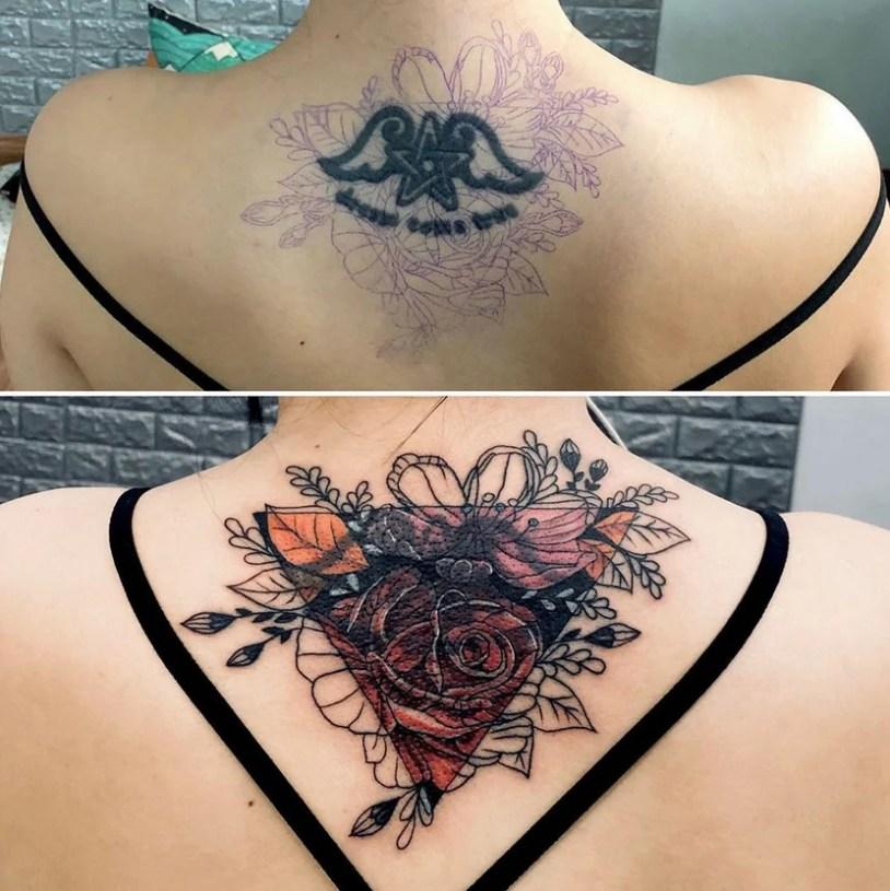 Antes e depois de cobrir tatuagem nuca