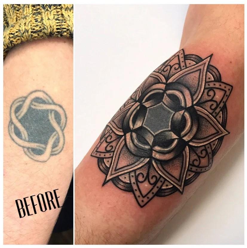 cobrir tatuagem no braço antes e depois