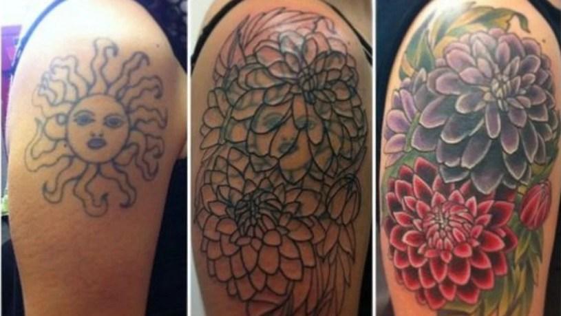 passo a passo de cobertura de tatuagem no ombro - Flores tomaram o lugar de um sol.