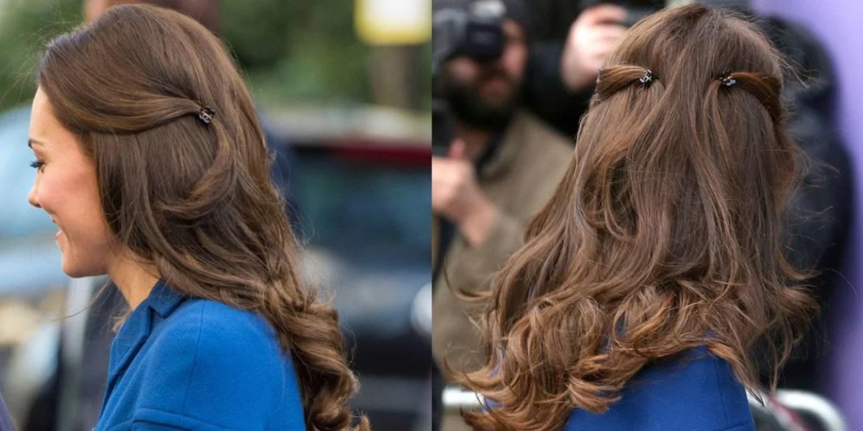 Kate Middleton usa mini piranhas para fazer penteado com ondas laterais