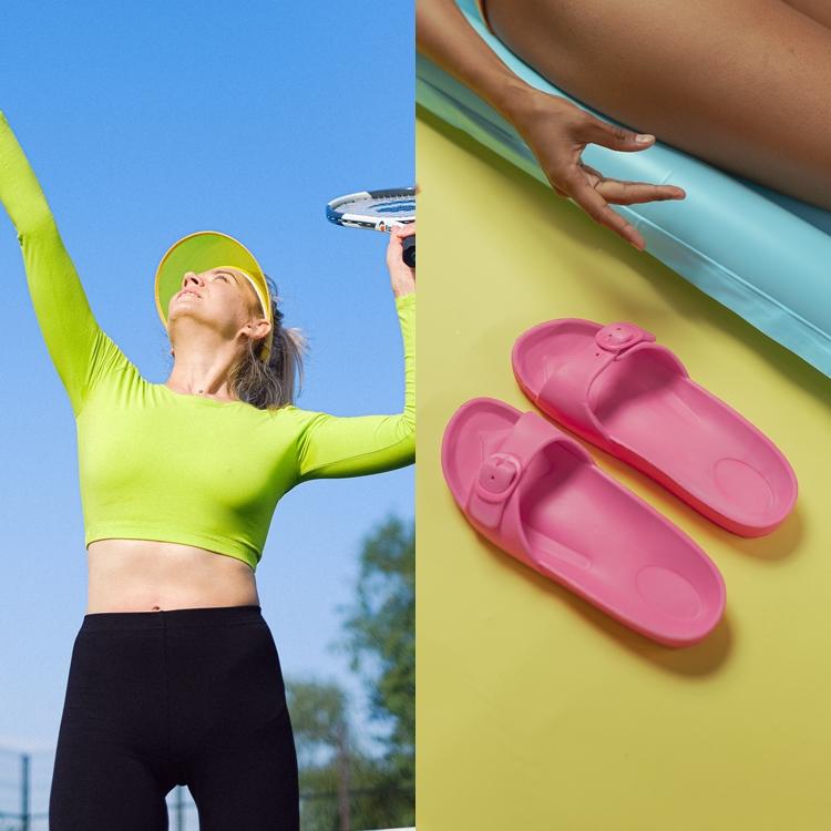 Foto de viseira e sandálias para o verão.