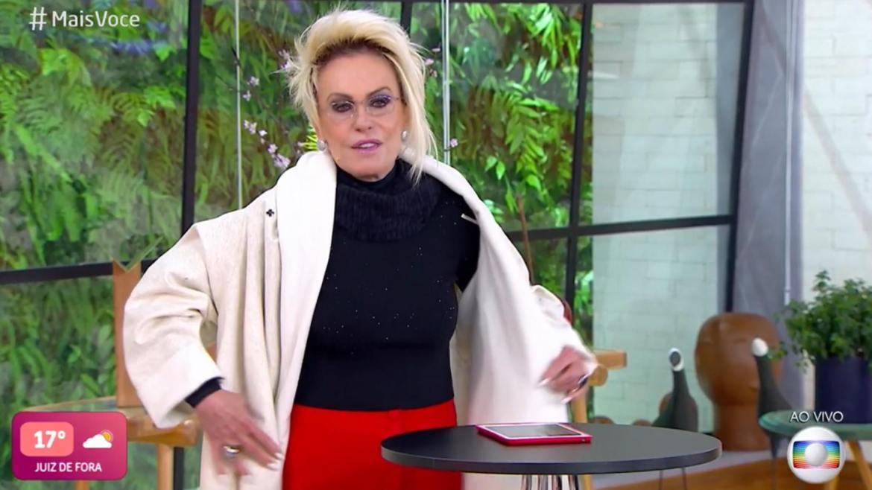 Ana Maria Braga encarou o frio congelante de SP para apresentar o Mais Você (imagem: reprodução/ Globo)