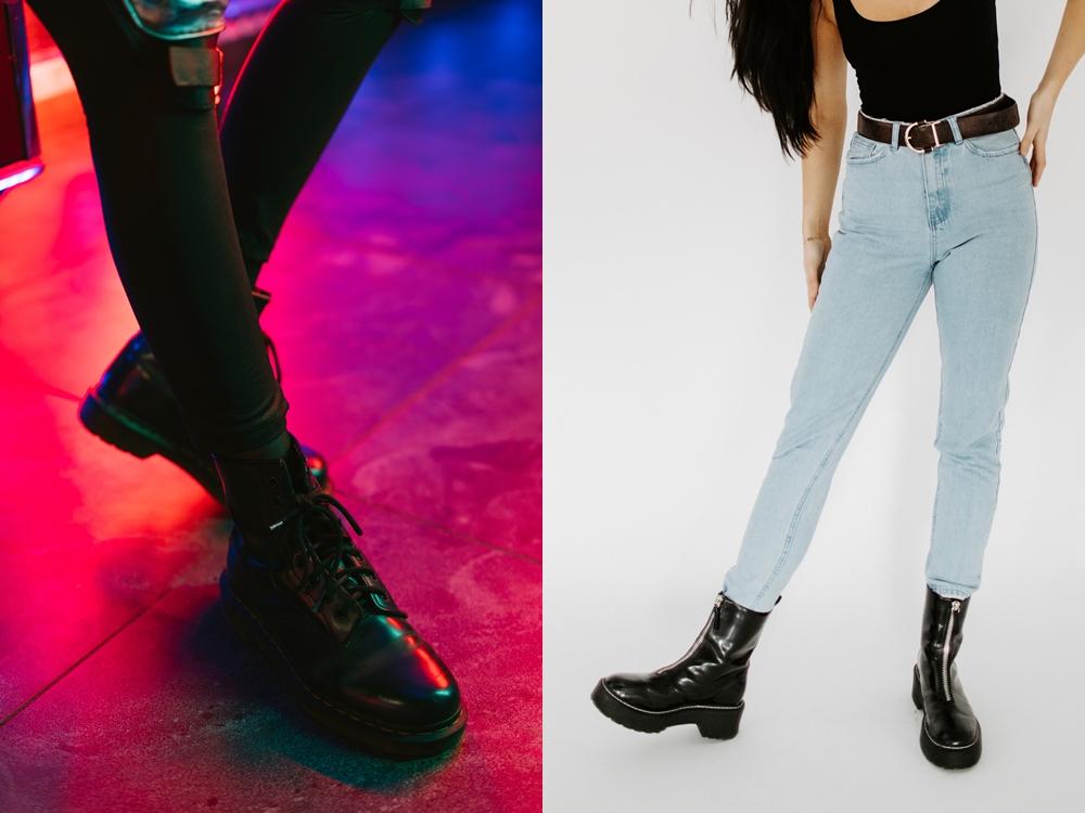 Foto da perna de mulheres usando bota com solado track.