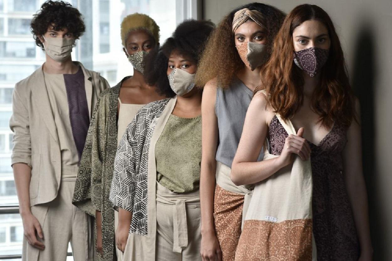 Modelos da Brasil Eco Fashion Week 2021.
