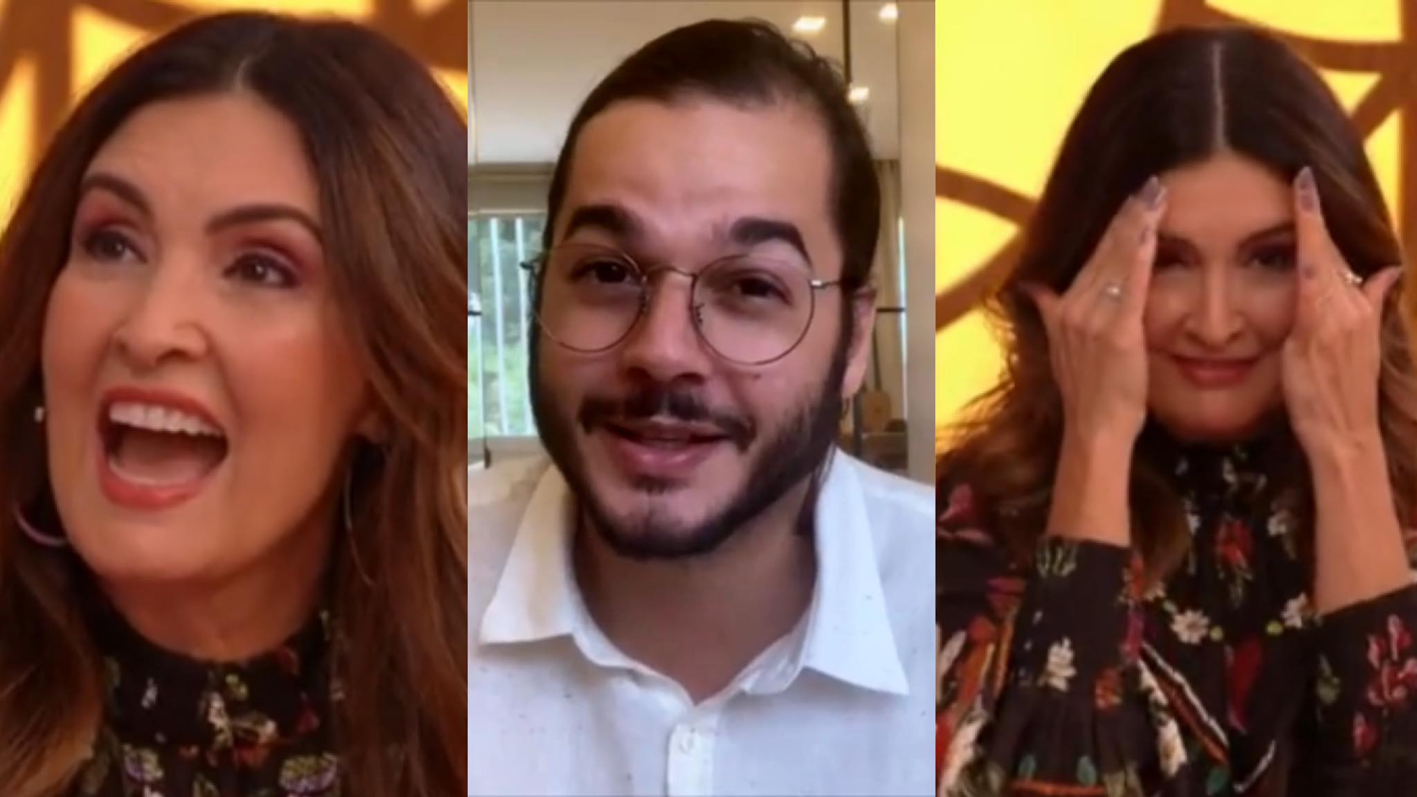 Túlio Gadêlha pega Fátima Bernardes de surpresa no Encontro (montagem: Fashion Bubbles)