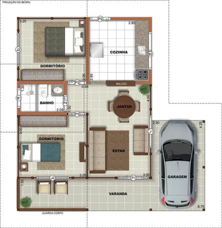 Planta de casa com dois quartos e garagem para um carro.