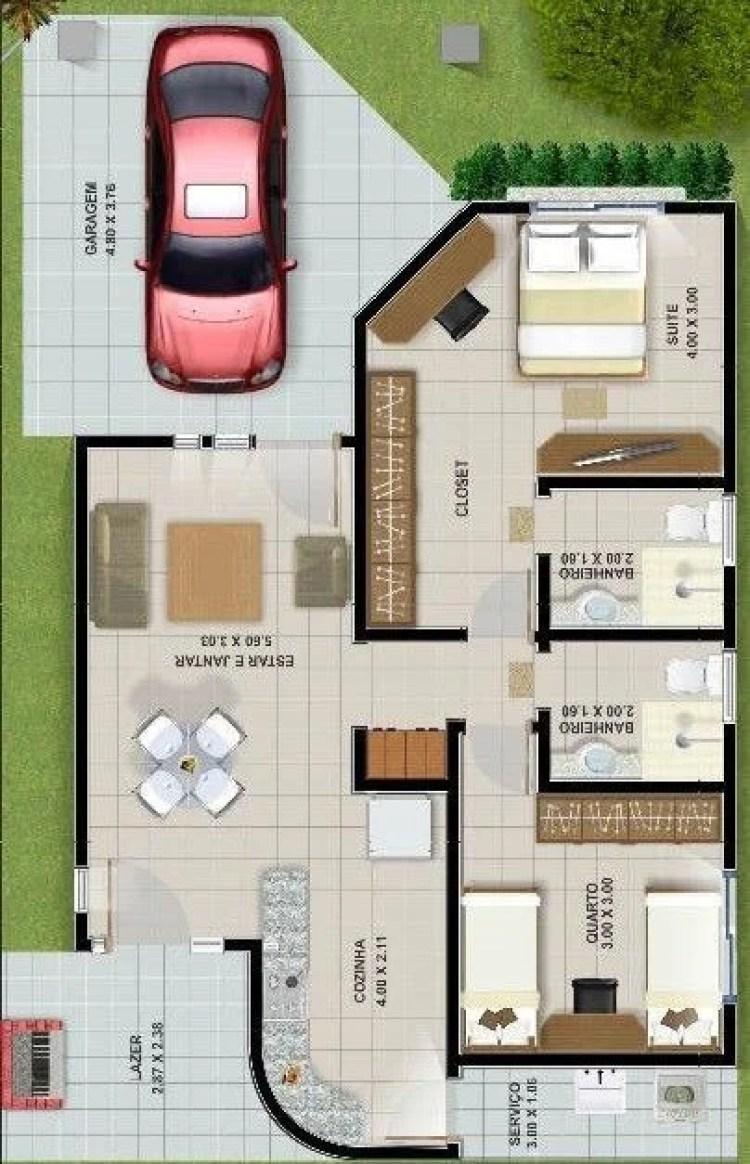 Casa com garagem para um carro.