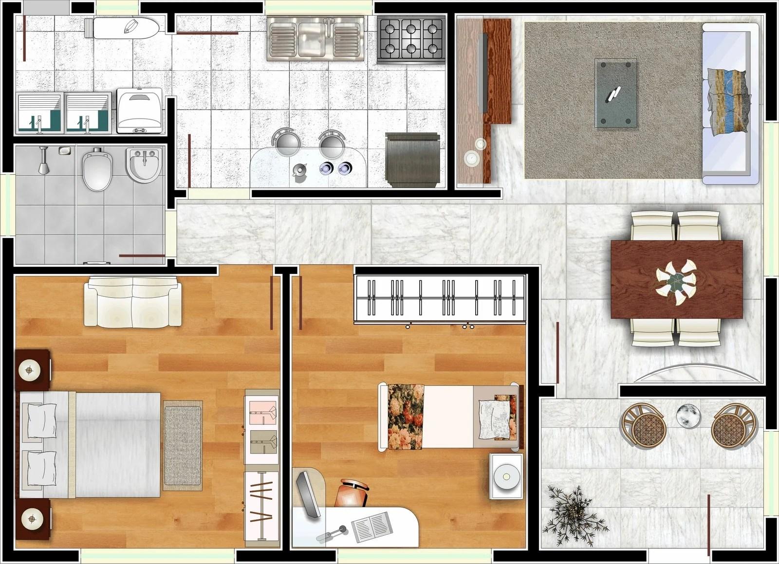 Planta de casa de dois quartos com piso de madeira.
