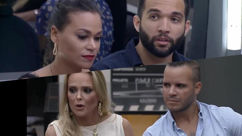 Carol e Jonjon e Nina e Filipe batem boca durante o intervalo do Power Couple (montagem: Fashion Bubbles)