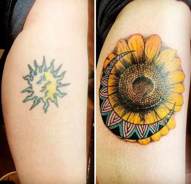 Tatuagem antiga é um sol colorido. Foi substituída pelo girassol e lua, também coloridos, da segunda foto.