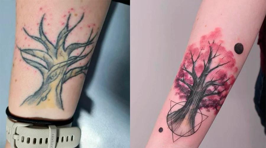 Cobertura de uma tatuagem de árvore colorida com outra tatuagem de árvore colorida mais bonita, e rosa.