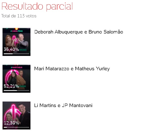 Enquete UOL mostra Mari e Matheus como mais votados pelo público na última DR do Power Couple 5