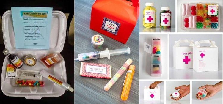 Montagem de três kits de doces com tema Medicina