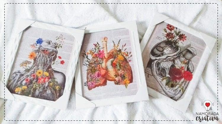 Três quadros com colagem de órgãos e flores