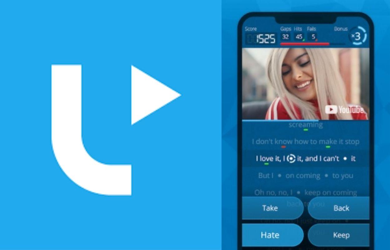 logo e captura de tela do aplicativo para aprender idiomas com música, LyricsTraining