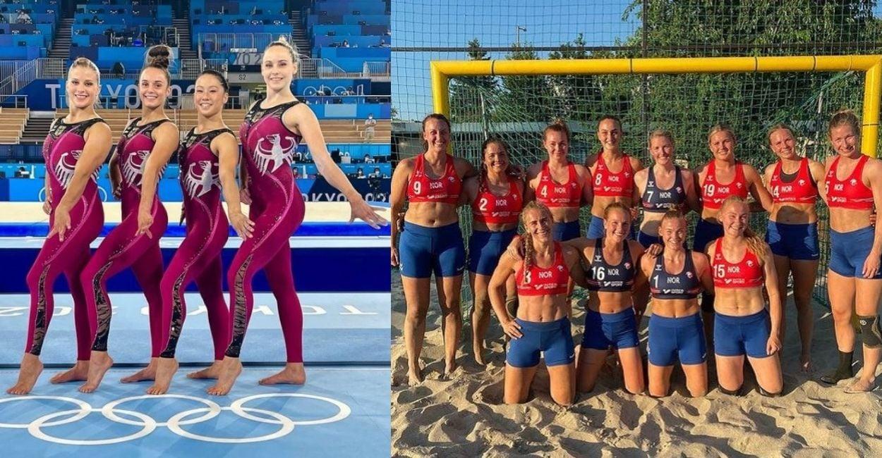 Dois casos de Olimpíadas 2021 e feminismo: ginastas alemãs usando macacão e seleção norueguesa de handebol de praia usando shorts