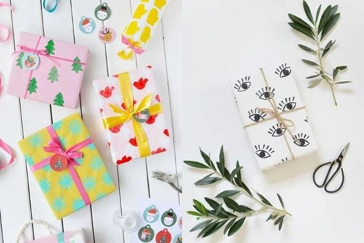 Opções de papel de presente com estampa feita de carimbo
