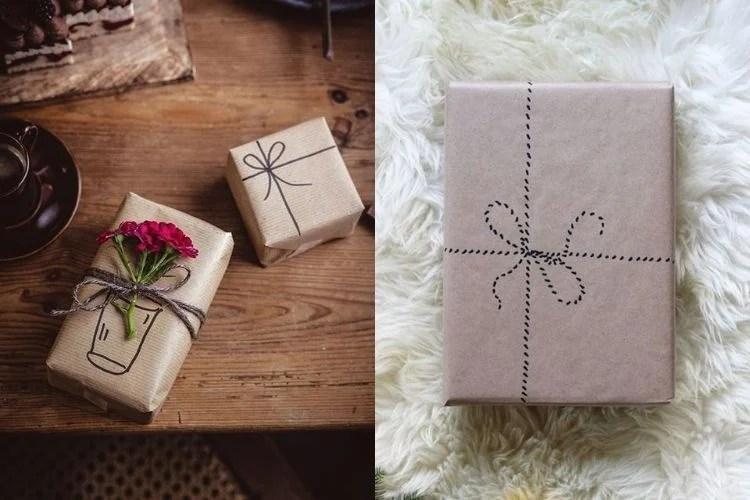Embalagens criativas de papel kraft com laço desenhado