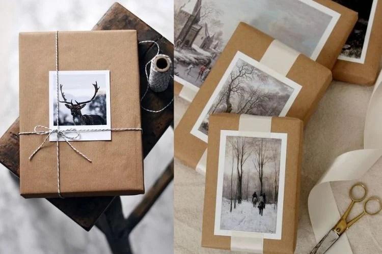 Embrulhos criativos com colagem de fotos polaroid