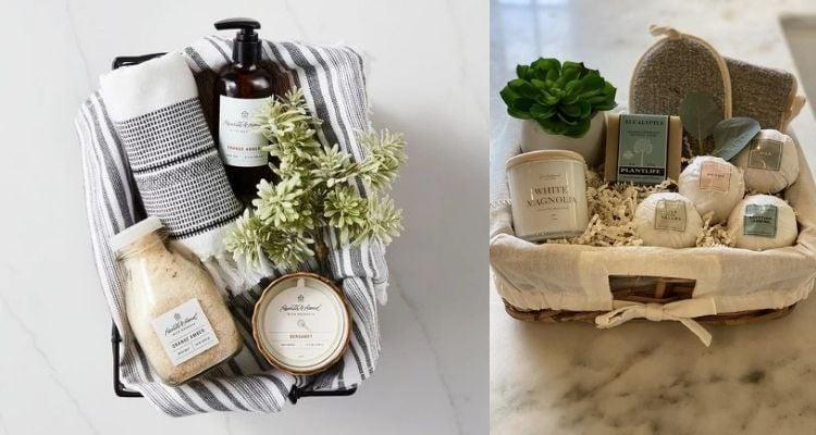 cesta para o Dia dos Avós com produtos de higiene