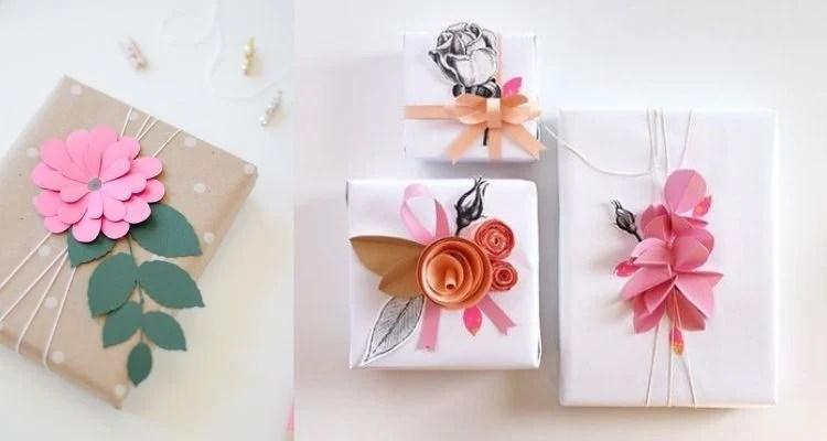 Embalagens criativas com aplicação de flores de papel