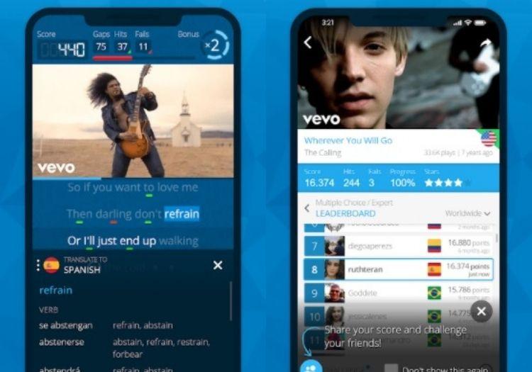 capturas de tela mostrando o app para aprender línguas com música