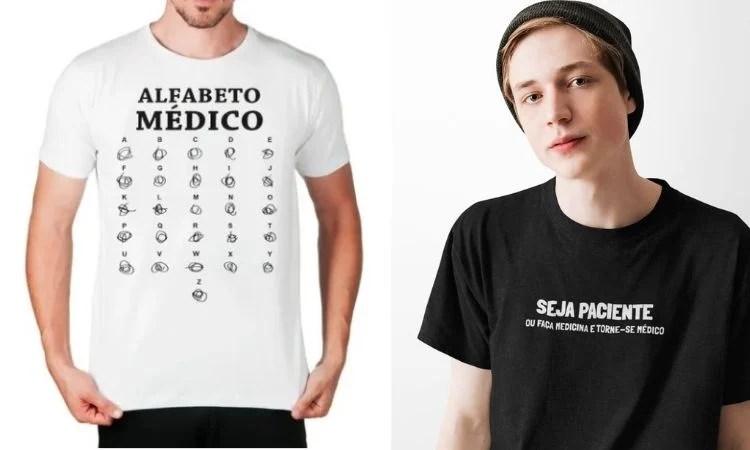 Montagem com duas camisetas sobre Medicina