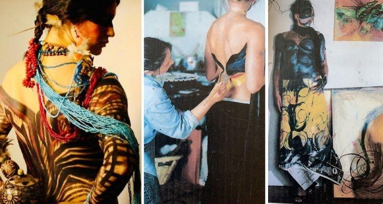 Montagem com três fotos de pintura corporal feita em mulheres