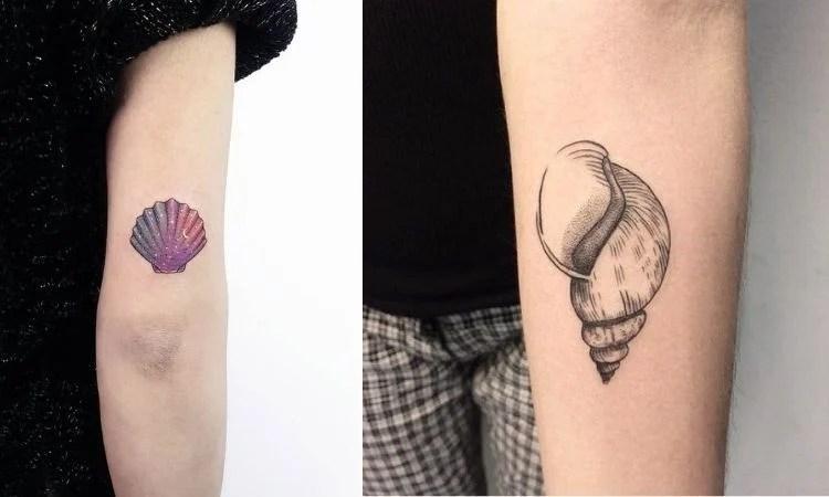 duas opções de tatuagem de mar no braço