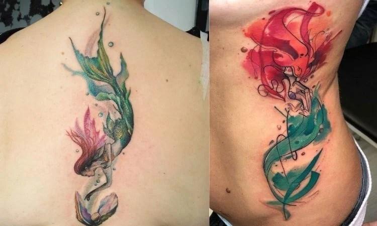 duas sereias coloridas tatuadas