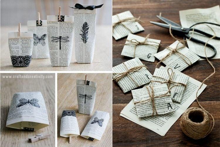 Pequenas embalagens criativas feitas com páginas de revistas