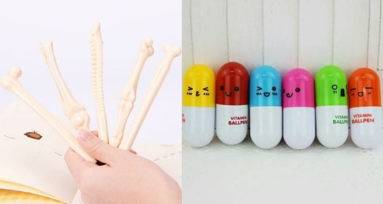 Montagem com dois modelos de caneta divertida: caneta de osso e caneta de pílula
