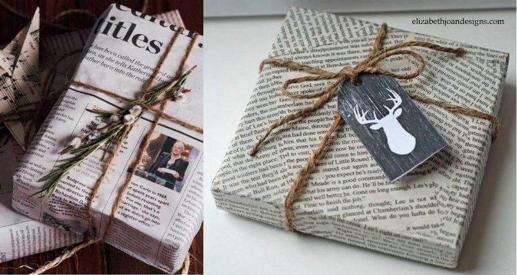 Presentes embrulhados com folha de jornal
