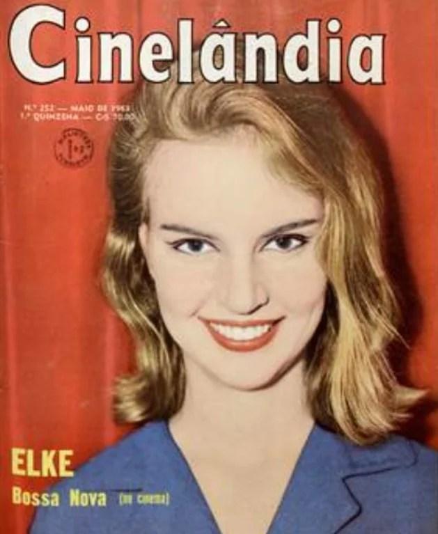 Capa colorida da revista Cinelândia com um retrato de Elke Maravilha jovem sorrindo.
