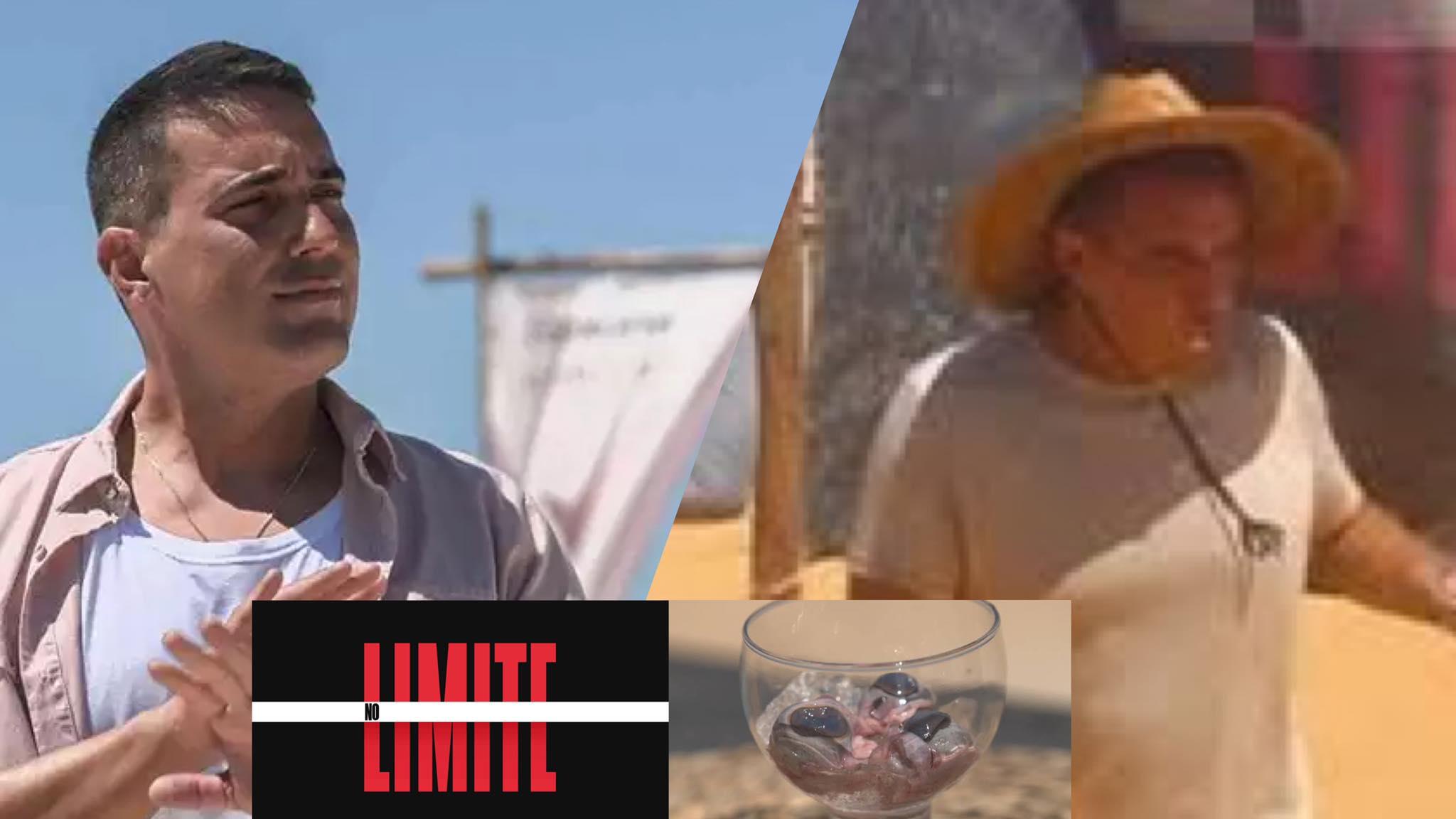 André Marques encarou o desafio e comeu olho de cabra do No Limite. Fonte: Montagem/ Fashion Bubbles