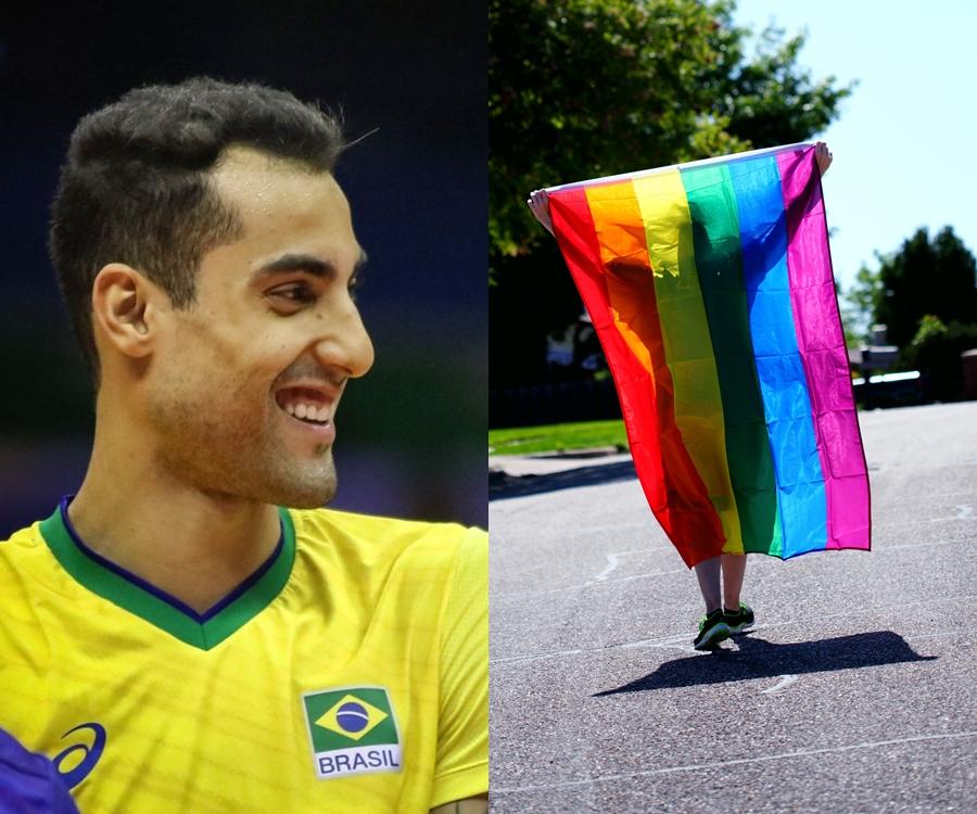 Foto do jogador e bandeira LGBTQIA+.
