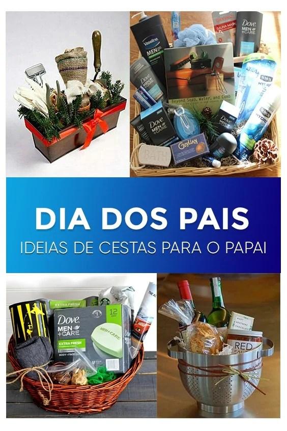 Quadro com a imagem de 4 cestas criativas feitas para o Dia dos Pais.