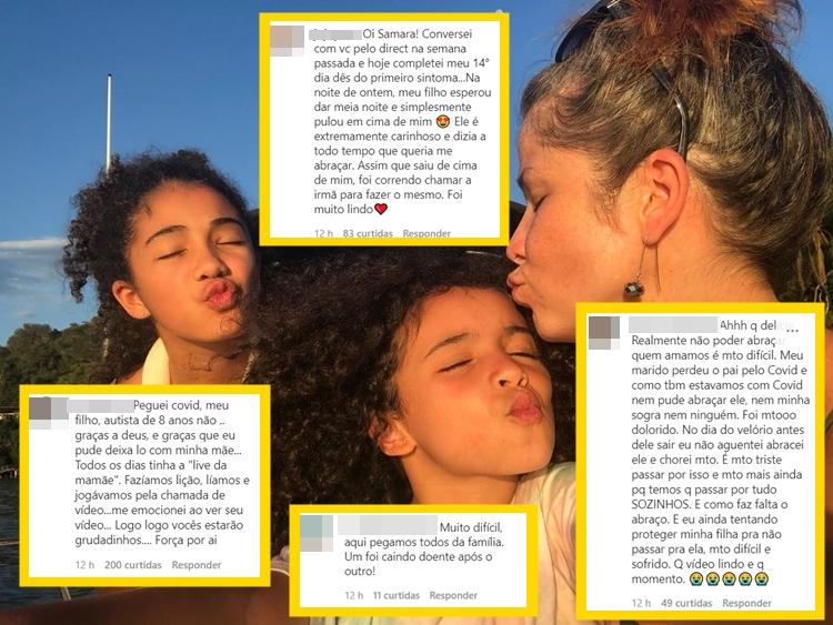 Foto montada de Samara e suas filhas com os comentários do vídeo.