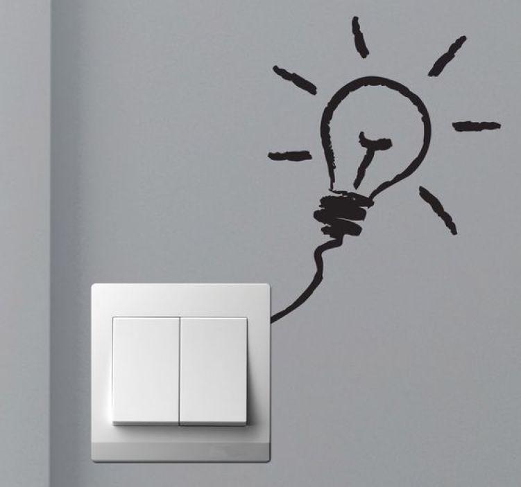 Interruptor com adesivo na parede de lâmpada.